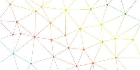 Abstract vector triangle background. Colorful bright polygonal network pattern. Lines and circles connection illustration for template, concept, web, design, science, net Ilustración de vector