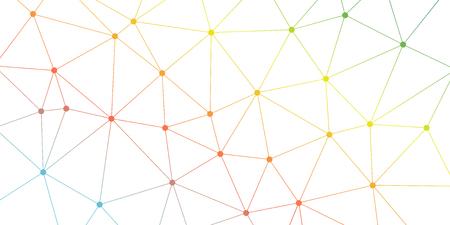 Fondo astratto del triangolo di vettore. Modello di rete poligonale luminoso colorato. Linee e cerchi illustrazione di connessione per modello, concetto, web, design, scienza, rete Vettoriali