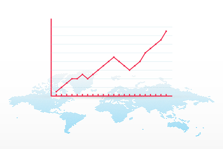 Growth chart with world map symbol. Vector infographic element. Progress sign for business, finance, stock market, exchange, development, profit, web, concept, design, template, sample, report 向量圖像