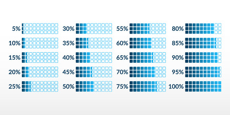 Percentage vector infographic icons isolated. 5 10 15 20 25 30 35 40 45 50 55 60 65 70 75 80 85 90 95 100 percent square charts set for business, finance, web, design, download, progress, template, presentation, report