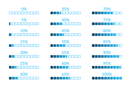 Percentage vector infographic icons isolated. 5 10 15 20 25 30 35 40 45 50 55 60 65 70 75 80 85 90 95 100 0 percent square charts set for business, finance, web, design, download, progress, template