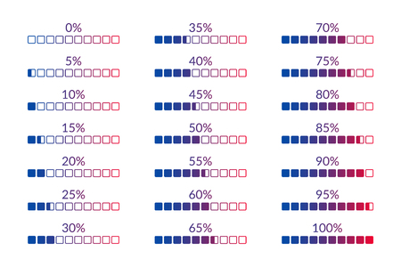 5 10 15 20 25 30 35 40 45 50 55 60 65 70 75 80 85 90 95 100 0 percent square charts set for business, finance, web, design, download, progress, template. Percentage vector symbols. Infographic isolated icons