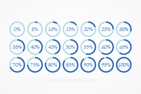 5 10 15 20 25 30 35 40 45 50 55 60 65 70 75 80 85 90 95 100 0 percent pie charts set for business, finance, web, design, download, progress, template. Infographic isolated circle icons. Percentage vector symbols. Illustration