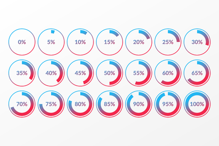 0 5 10 15 20 25 30 35 40 45 50 55 60 65 70 75 80 85 90 95 100 percent pie chart symbols. Percentage vector infographics. Isolated circle icons for business, download, web design