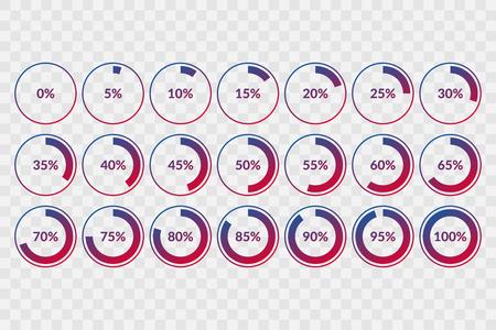 5 10 15 20 25 30 35 40 45 50 55 60 65 70 75 80 85 90 95 Símbolos de gráfico circular del 100 por ciento sobre fondo transparente. Vector de porcentaje, iconos de círculo infográfico para descargar