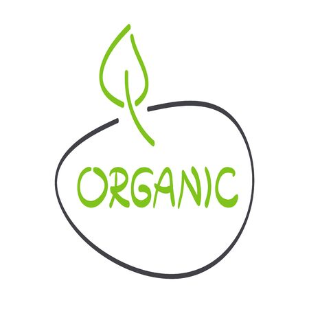 Organic label with leaf. Hand drawn green and grey sign. Symbol for food, healthy eating, health, menu, market, product design