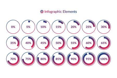 Prozentuale Infografik-Symbole. 5 10 15 20 25 30 35 40 45 50 55 60 65 70 75 80 85 90 95 100-Prozent-Kreisdiagrammsymbole. Farbverlaufskreiszeichen zum Download, Webdesign, Business