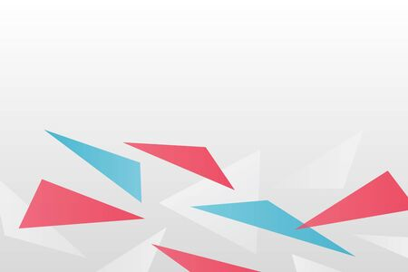 Abstract vector background. Gradient triangle geometric pattern. White, red and blue ilustration for web, futuristic, modern design, concept, decoration Ilustração