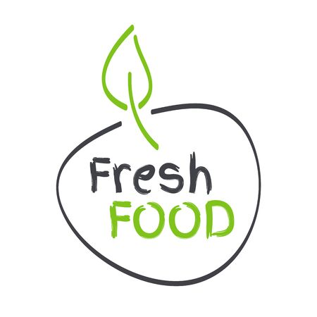 Fresh food label with leaf. Hand drawn green and grey sign. Symbol for food, fruits, vegetables, healthy eating, health, menu, market, product design