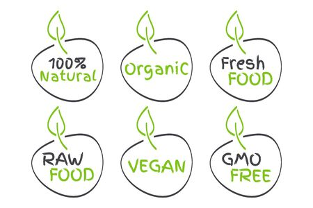 Organic, Vegan, Raw, Fresh Food, GMO Free, 100% Natural labels. Green and grey signs. Symbols for healthy eating, health, menu, market, product design Ilustração