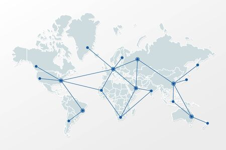 World map with country borders and triangle network pattern. Illustration sign for global, international, communication, business, trade, connection, net, web design, concept, template