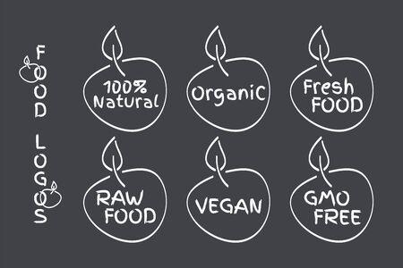 Organic, Vegan, Raw, Fresh Food, GMO Free, 100% Natural labels. Symbols for healthy eating, health, menu, market, product design