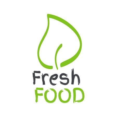 Fresh food label with leaf. Green and grey sign. Symbol for food, healthy eating, health, menu, market, product design, shop, restaurant Ilustração