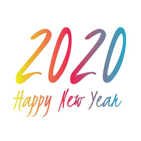 2020 vector symbol. Happy New Year illustration for decoration, celebration, winter holiday, infographic, business, calendar, design.  Blue red and yellow gradient icon Ilustração