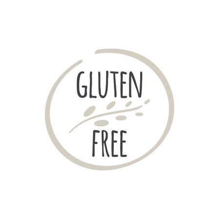 Gluten free label. Food icon. Illustration symbol for product, package, healthy eating, lifestyle, celiac disease, shop, menu Ilustração