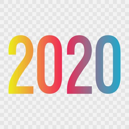 2020 vector symbol. Happy New Year illustration for decoration, celebration, winter holiday, infographic, business, calendar, design. Blue red and yellow gradient icon on transparent background