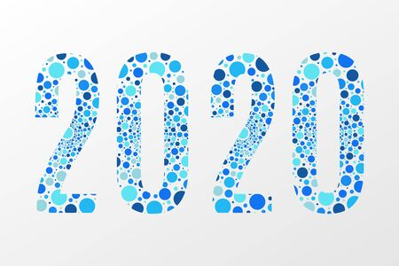 2020 vector symbol. Happy New Year illustration for decoration, celebration, winter holiday, infographic, business, calendar, design. Blue bubble icon