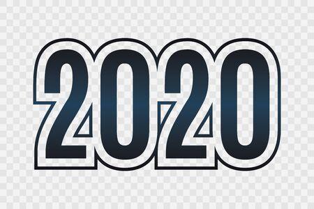 2020 vector symbol. Happy New Year illustration for decoration, celebration, winter holiday, infographic, business, calendar, design. Deep blue gradient icon isolated on transparent background Ilustração