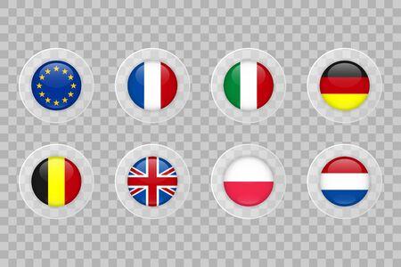 European Union, France, Italy, Germany, Belgium, United Kingdom, Poland, Netherlands flag on transparent background. Isolated vector icon set for web, design, decoration, business, travel, infographic elements Ilustração