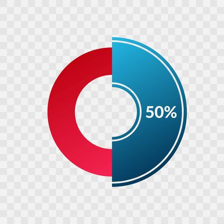 50 percent blue and red gradient pie chart sign. Percentage vector infographic symbol. Circle diagram isolated on transparent background, illustration for business, download, web icon, design