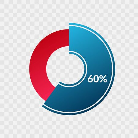 60 percent blue and red gradient pie chart sign. Percentage vector infographic symbol. Circle diagram isolated on transparent background, illustration for business, download, web icon, design