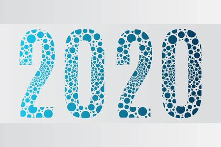 2020 bubble vector symbol. Happy New Year illustration for decoration, celebration, winter holiday, infographic, business, calendar, design. Blue gradient icon