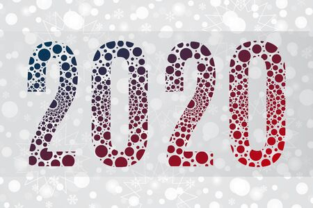 2020 bubble symbol on snowflake background. Happy New Year illustration for decoration, celebration, winter holiday, infographic, business, calendar, design