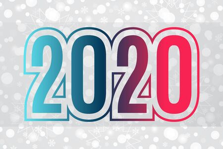 2020 vector blue red gradient symbol on snowflake background. Happy New Year illustration for decoration, celebration, winter holiday, infographic, business, design