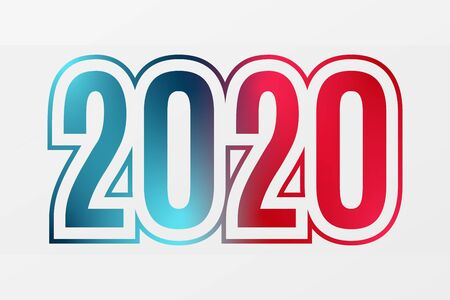 2020 vector blue red gradient symbol. Happy New Year illustration for decoration, celebration, winter holiday, infographic, business, design