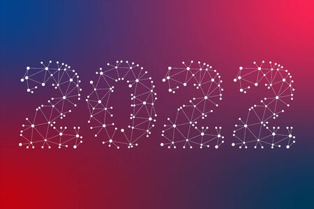 2022 white geometric vector symbol on blue red gradient background. New Year abstract triangle illustration for decoration, celebration, winter holiday, infographic, design