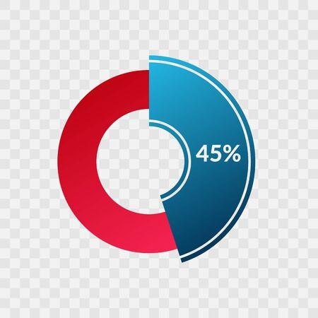 45 percent blue and red gradient pie chart sign. Percentage vector infographic symbol. Circle diagram isolated on transparent background, illustration for business, download, web icon, design