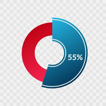 55 percent blue and red gradient pie chart sign. Percentage vector infographic symbol. Circle diagram isolated on transparent background, illustration for business, download, web icon, design Ilustração
