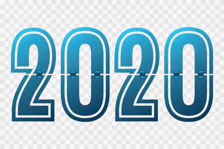 2020 vector blue gradient symbol on transparent backgound. Flip icon. Happy New Year illustration for decoration, sign, celebration, winter holiday, infographic, business, design, calendar
