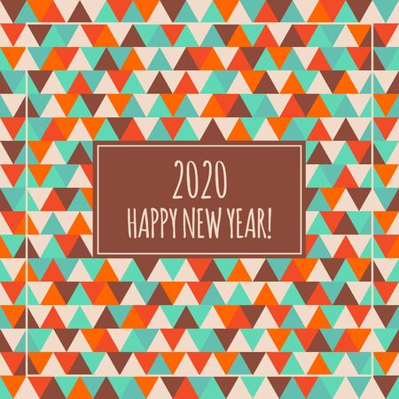 2020 Happy New Year illustration for decoration. Winter holiday geometry pattern. Decorative red orange blue brown seamless triangle background. Greeting card Ilustração