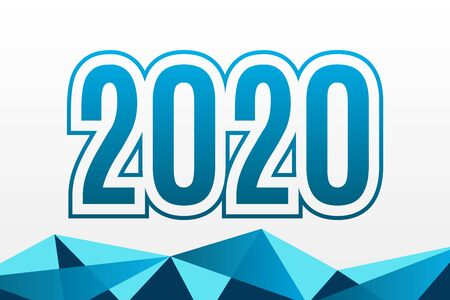 2020 vector symbol with triangle pattern. Happy New Year illustration for decoration, celebration, winter holiday, infographic, business, event, design Ilustração