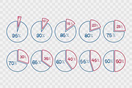 5 10 15 20 25 30 35 40 45 50 55 60 65 70 75 80 85 90 95 percent pie chart symbols on transparent background. Percentage infographics. Isolated icons for business, finance, web design Ilustração