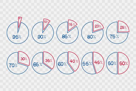 5 10 15 20 25 30 35 40 45 50 55 60 65 70 75 80 85 90 95 percent pie chart symbols on transparent background. Percentage infographics. Isolated icons for business, finance, web design Illustration