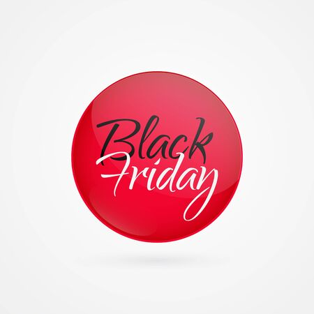 Black Friday vector circle icon. Red isolated symbol. Illustration sign for sale, advertisement, marketing project, business, retail, wholesale, shopping, commerce