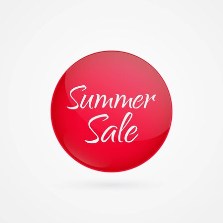 Summer Sale vector circle icon. Red isolated symbol. Illustration sign for discount, advertisement, marketing business, shopping, shop, product, web design Ilustração