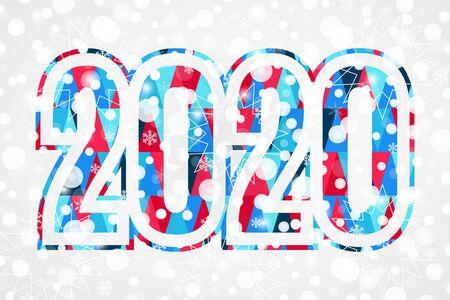 2020 Happy New Year triangle sign for decoration. Christmas snowflake background. Illustration for decoration, celebration, design, greeting, winter holiday Ilustração
