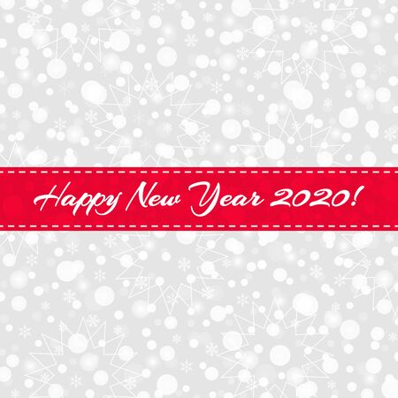 Happy New Year 2020 greeting card. Snowflakes, snow, stars pattern with red ribbon.