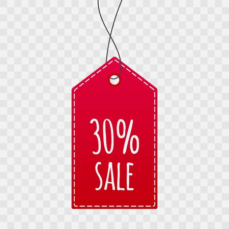 30% shopping tag for sale. Vector isolated icon on transparent background. Sign for label, price, best offer, advertisement