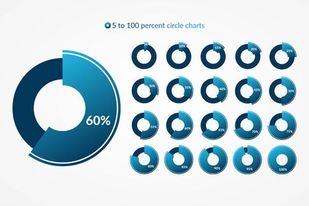 5 10 15 20 25 30 35 40 45 50 55 60 65 70 75 80 85 90 95 100 percent pie chart icon set. Percentage vector infographic symbol. Circle diagram for business, download