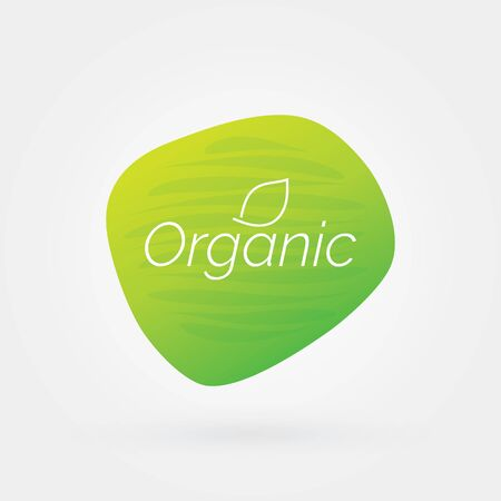 Organic food icon with leaf. Green vector sign. Illustration symbol for product, sticker,  label, healthy eating, design, menu, diet Иллюстрация