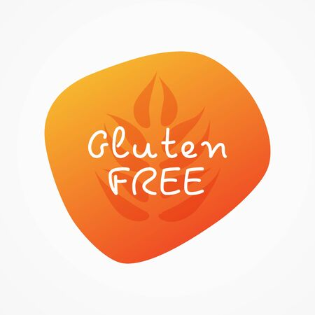 Gluten free icon. Orange gradient vector sign isolated. Illustration symbol for food, product sticker,   package, label, special diet, design element