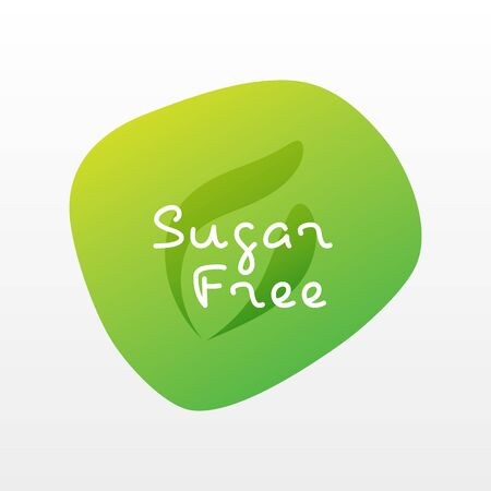 Sugar free icon. Green gradient vector sign isolated. Illustration symbol with leaf for food, product sticker, package, label, healthy eating, design, diet, diabetes, diabetic