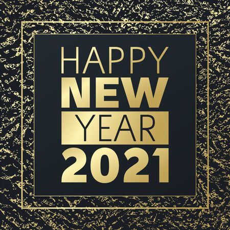 2021 New year vector greeting card. Golden grunge background. Glowing banner for celebration, congratulation, web, design, decoration