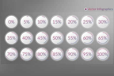 Percentage vector infographic icons set. 0 5 10 15 20 25 30 35 40 45 50 55 60 65 70 75 80 85 90 95 100 percent isolated pie chart signs for business, web design, downloading, progress