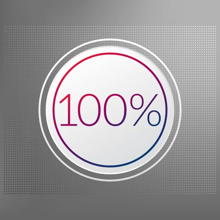 100 percent circle chart symbol. Vector red blue gradient element. Infographic sign on gray dotted background. Illustration, icon for business, finance, report, web design, downloading Vectores