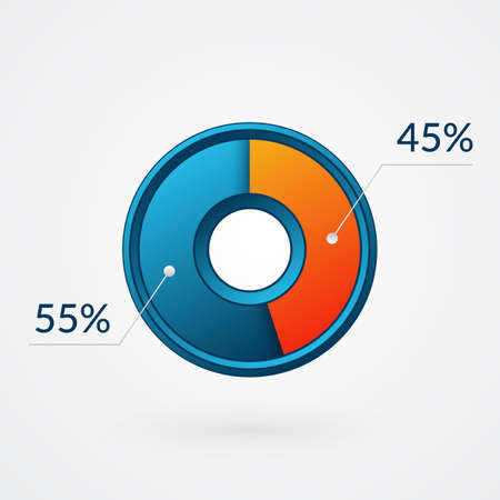45 55 percent isolated pie chart. Percentage vector, infographic blue and orange gradient icon. Circle sign for business, finance, web design, download, progress 向量圖像